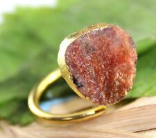 D6687 Wonderful Brown Sunstone 24k Gold Electroplated Adjustable Ring Jewelry
