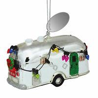 Silver Camper Decorated for Holidays Blown Glass Christmas Ornament