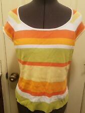 Dane Lewis size medium new without tags striped shirt stretch top orange green