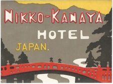 Kanaya Hotel in Nikko Japan Pictorial Luggage Label Travel Tourist Asia Far East