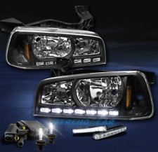 2006-2010 DODGE CHARGER LED CRYSTAL BLACK HEAD LIGHT LAMP W/6000K HID+DRL SIGNAL