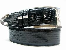 """Sterling Silver 925 buckle 2 loops & tip set w Lizard 1-1/2"""" belt size 26 to 46"""