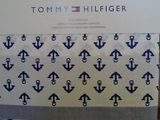 New Tommy Hilfiger White Navy Blue Anchors Nautical 4 Piece Full Sheet Set
