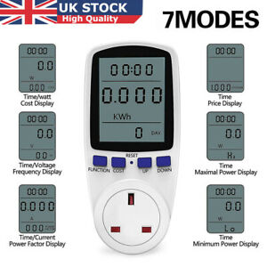 Power Meter UK Plug LCD Electricty Energy Consumption Monitor Watt Kwh Analyzer