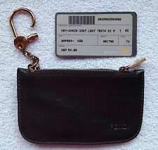 FENDI BROWN LEATHER ZIPPED KEYRING POUCH WITH METAL CHAIN