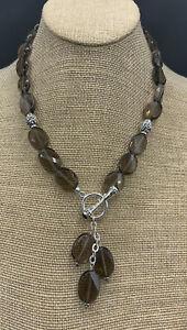 Barse Bansela Smoky Quartz Toggle Necklace- Silver Overlay- NWT