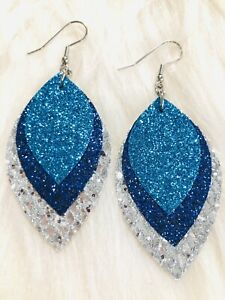 Blue Sapphire And Silver Glitter Canvas Faux Leather Earrings Triple Layer