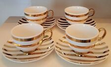 NICOLE MILLER SET OF 8 CUPS WITH MATCHING 8 SAUCERS PORCELAIN AND GOLD