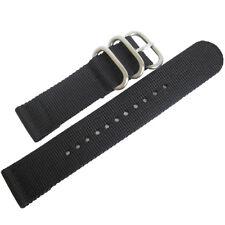 20mm deBeer Black Ballistic Nylon UTC Military Dive Two-Piece Watch Band Strap