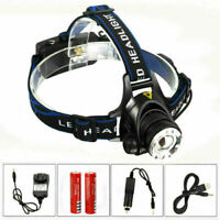 Zoom 10000Lm LED Headlamp Head Torch Rechargeable Camping Hunting Lamp 18650