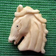 Japanese Detailed Hand Carved Scrimshaw Netsuke Bovine Bone Horse Pony Head E