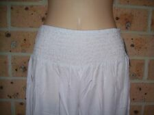 LADIES GO GIRL BODACIOUS RANGE LONG TIE ROUCHED PANT100% RAYON WHITE SIZE XXL