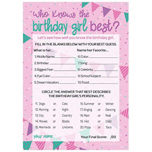 Who Knows The Birthday Girl Best - 10 Game Cards