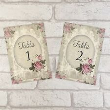 Vintage Style Wedding Table Number Name Card - Shabby Chic Pink Flower Rose