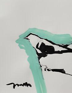 JOSE TRUJILLO ORIGINAL Art SIGNED ACRYLIC on Paper PAINTING MODERNISM Bird