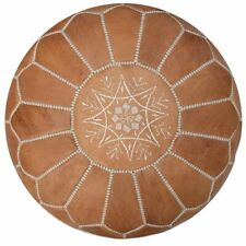 New Authentic Leather Pouf Ottoman Moroccan Footstool Handmade Seat Brown Pouffe