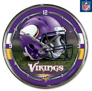 NFL - Minnesota Vikings- New Chrome Round Wall Clock 12 Inches Diameter, New