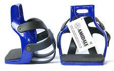 Amidale aluminium Endurance Flex ride à cage sécurité cheval étriers N. Bleu