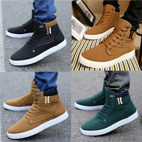 Fashion Men's Oxfords Casual High Top Shoes Leather Shoes Canvas Sneakers