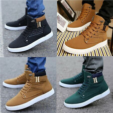 Autumn Fashion Men's Oxfords Casual High Top Shoes Leather Shoes Canvas Sneakers