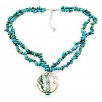 Sterling Silver 2 Strand Turquoise Necklace w Mother of Pearl Pendant