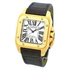 CARTIER 18K Yellow Gold Large Size Santos 100 XL Automatic W20071Y1 Box Warranty