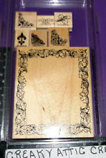 STAMPIN UP FRAME AND FLOURISHES 7 RUBBER STAMPS LEAVES FLEUR DE LIS