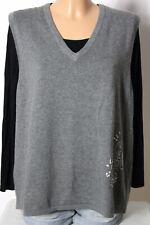 Pullunder Gr. 44 grau Strick Damen Pullunder mit Wolle, Stickereien und Perlen