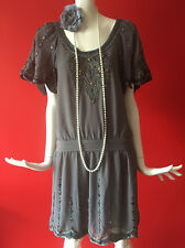 Oasis Vintage Flapper 1920s Gatsby Charleston Beaded Dress Size 8 EUR 34 BNWT