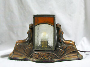 Antique ART DECO NUDES LAMP - LEADED GLASS SHADE