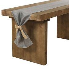 Table Runner Gray Grey Burlap Rustic Western Farmhouse Bow Ties Decor 14x84 New