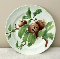 Antique Keller & Guerin St. Clement France Majolica Plate Medlar Fruit