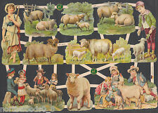 LAMBS SHEEP EWE SPRING CHILDREN RAM MEADOW SHEPHERD HERD PAPER SCRAP EF GERMAN