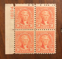 SCOTT US #641 1922-25 9c PERF. 11 PLATE BLOCK OF 4 STAMPS MH OG
