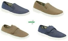 Mens Touch Fastening Slip-on Canvas Shoes Denim Textile Shoes Taupe Blue Size