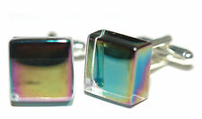 BEAUTIFUL SMOOTH IRIDESCENT SQUARE GLASS CUFF LINKS (009a)