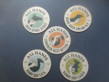 complete set of 5 ALL HANDS Craft Brewery Beer COASTERS collectable