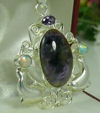 STERLING SILVER OPAL AMETHYST AGATE DOLPHIN PENDANT & CHAIN 15.9 GRAMS