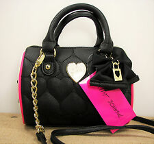 Betsey Johnson Be Mine Mini Barrel Purse Quilted Heart Black White Pink MSRP $68