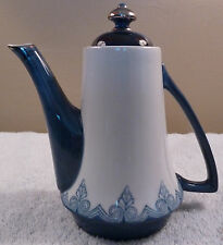 Vintage Bombay individual coffee or tea pot -- traditional blue colors