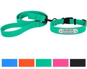 Waterproof Dog Collar Leash Set Personalized Pet Collars Training Lead S M L