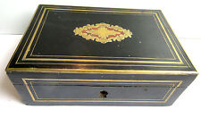 Boite, coffret Napoléon III, bois noir, filets et cartouche central laiton doré