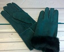green ladies women 100% genuine real leather sheepskin gloves mittens winter