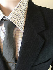 Neiman Marcus 'Envoy' 100% Wool Jacket Blazer 2 Bttn Gray Flannel Striped Sz 40