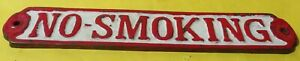 """Vintage Solid Brass """"No Smoking""""  painted red and white Sign Plaque"""