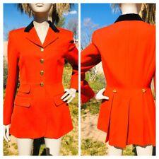 Vintage Lauren Ralph Lauren Red Wool Velvet Collar Military Jacket Coat Size 4