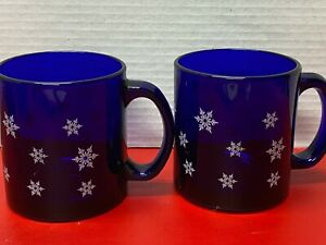 Libbey 12 Oz. Cobalt Blue Glass Coffee Cups / Mugs with Snowflakes (2)