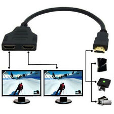 HDMI 1 Male To Dual HDMI 2 Female Y Splitter Cable Adapter in HDMI HD LED LCD TV