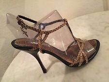 7e4744149878c9 Cesare Paciotti Multicolor Leather Snakeskin Strappy Sandal Heels Women s 39  ...