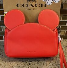 New Coach Disney X Wristlet Mickey Ears in Red Glove Calf Leather - F59529